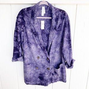 NWT ANTHROPOLOGIE Amadi Blue Tie Dye Blazer L